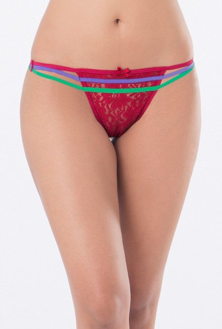 PrettySecrets Blue & Red Thong Panties (Pack of 2)