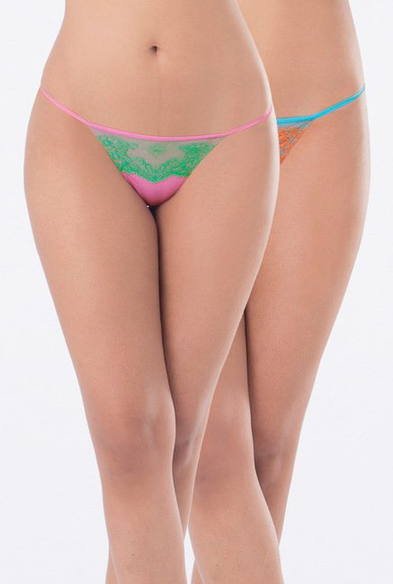 PrettySecrets Blue & Pink G-String Panties (Pack of 2)