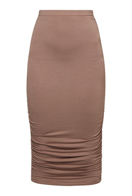 Boohoo Beige Steph Ruched Skirt