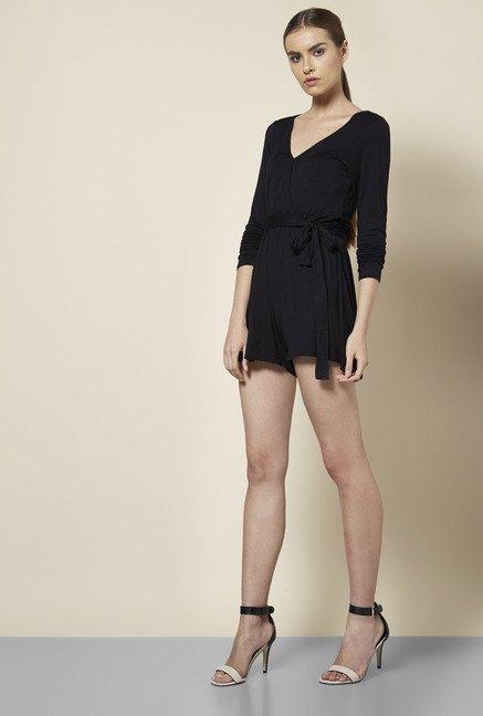 97ff35e8901 Buy Boohoo Black Cleo Wrap Playsuit For Women Online At Tata CLiQ