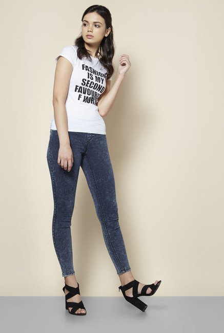 8d8b50f7d4 Buy Boohoo White Alice Fashion Slogan Print T Shirt For Women Online At  Tata CLiQ