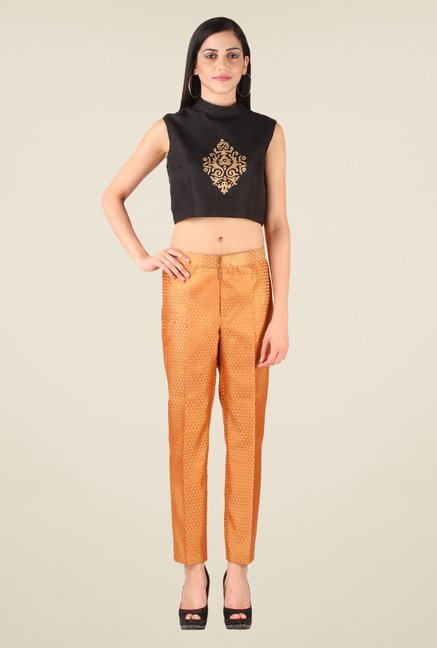Studio Rasa Beige Semi Brocade Slim Fit Pant
