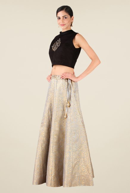 Studio Rasa Grey & Black Semi Brocade Kalidaar Lehenga Set