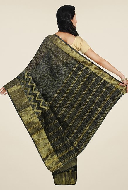 Pavecha's Black & Gold Cotton Polyblend Banarasi Saree