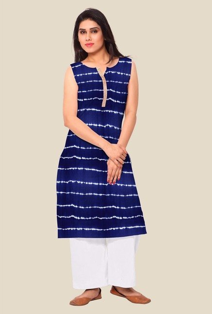 Ahalyaa Blue Striped Kurta
