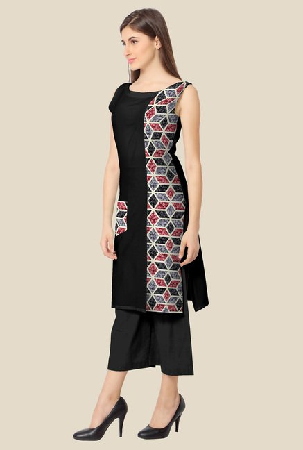 Ahalyaa Grey and Black Printed Kurta