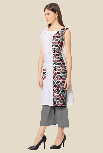Ahalyaa Grey and White Printed Kurta