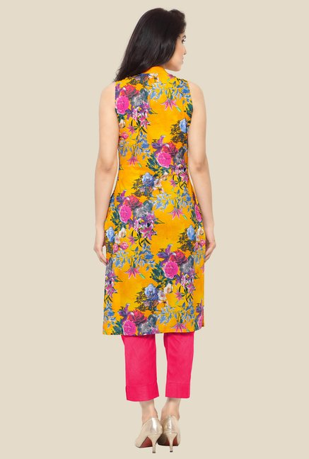 Ahalyaa Orange Floral Print Kurta