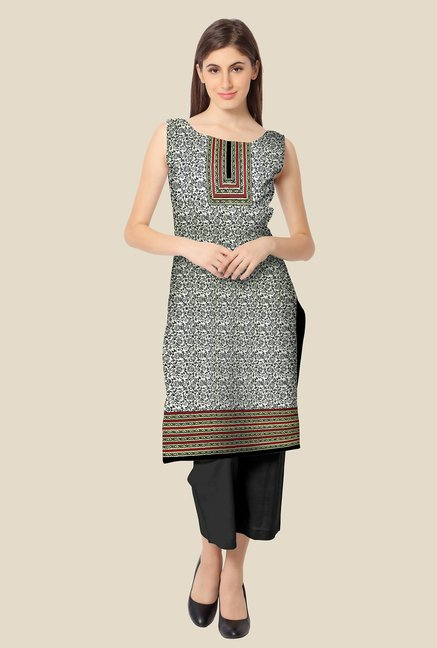 Ahalyaa Off White & Black Printed Kurta
