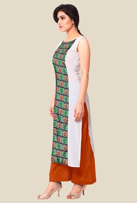 Ahalyaa White & Green Printed Kurta
