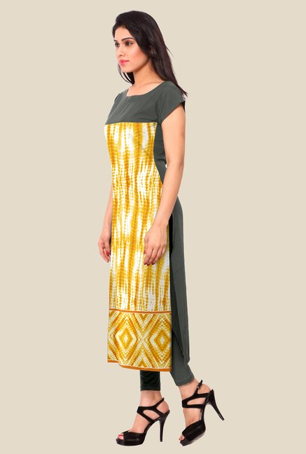 Ahalyaa Yellow & Grey Printed Kurta