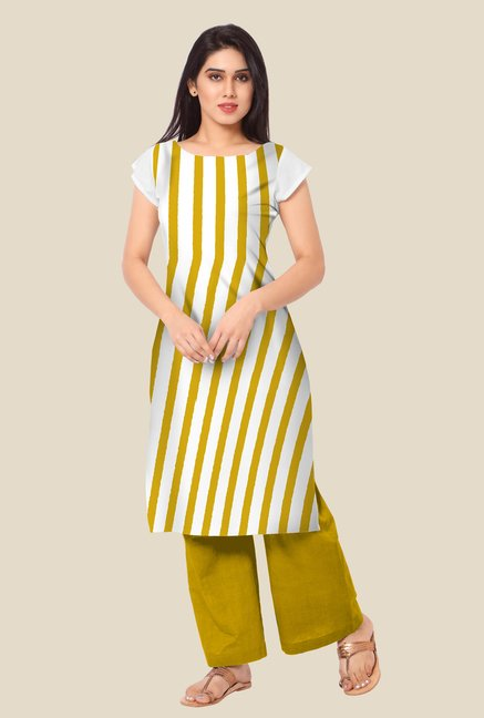 Ahalyaa White & Mustard Striped Kurta