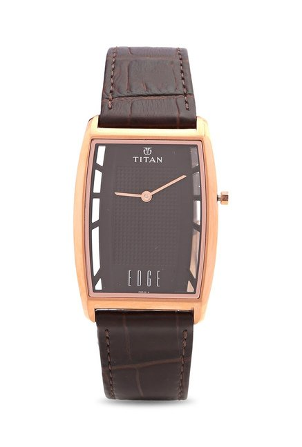 Titan Quartz Stainless Steel and Leather Dress Men's Watch, 1575WL01