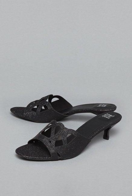 e4f054bbac81 Buy Head Over Heels by Westside Black Slide Sandals For Women Online At Tata  CLiQ