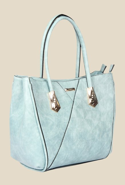 Esbeda Blue Synthetic Textured Handbag