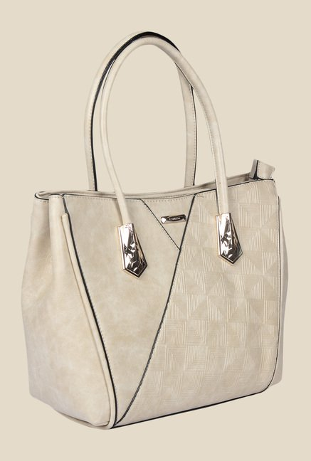 Esbeda Beige Synthetic Textured Handbag