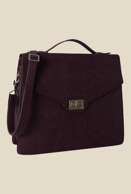 Baggit Bardot Dora Wine Synthetic Satchel Bag