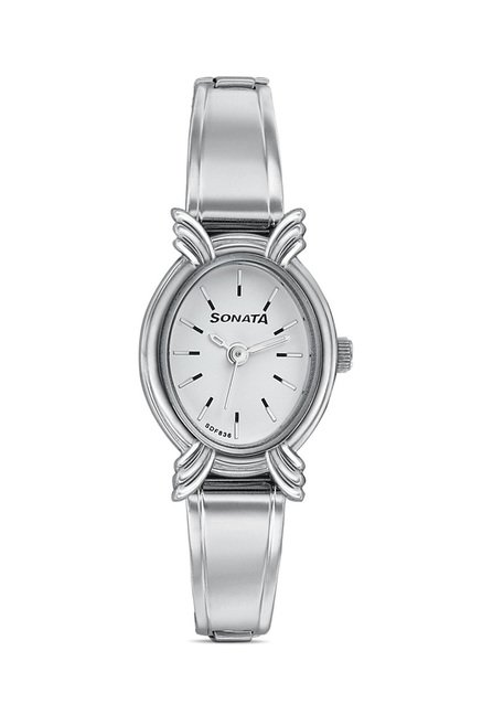 Sonata Analog White Dial Women's Watch, 8110SM01
