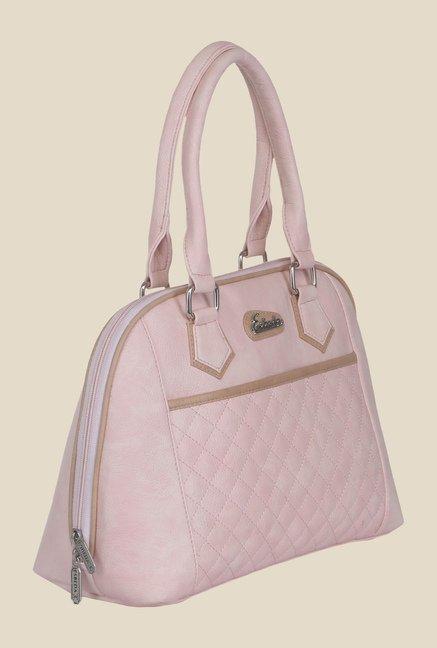Esbeda Light Pink Synthetic Textured Handbag