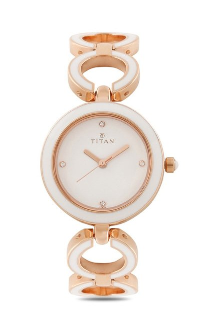 Titan 95036WM02J Enamel Analog Watch for Women