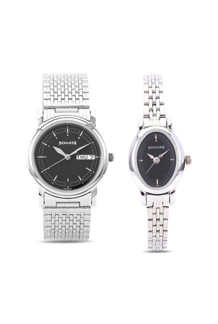 Sonata Analog Black Dial Wedding Couple Watch, 11418100SM01