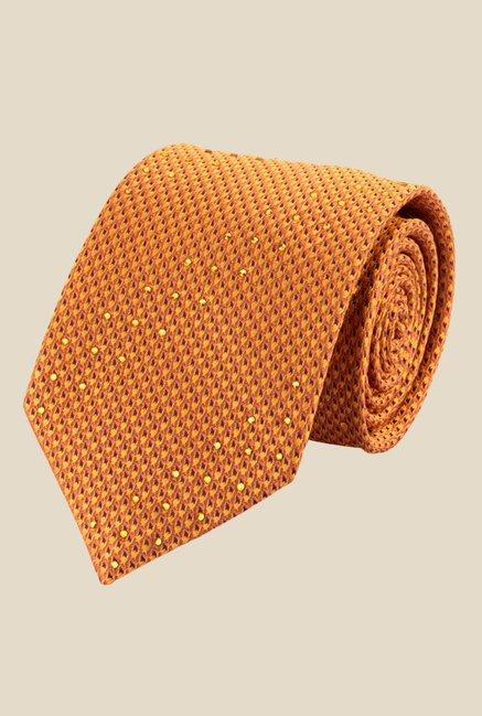 Satya Paul Yellow Crystal Studded Textured Tie