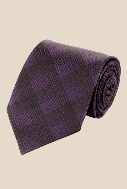 Satya Paul Purple Crystal Studded Plaid Tie