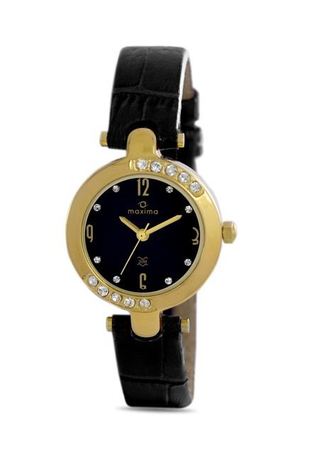 Maxima 29414LMLY Swarovski Gold Analog Black Dial Women's Watch (29414LMLY)