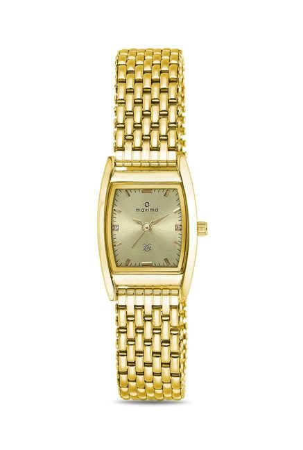Maxima 19945CMLY Formal Gold Analog Watch for Women