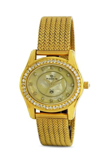 Maxima 29536CMLY Swarovski Gold Analog Watch for Women