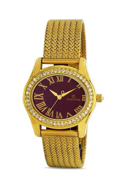 Maxima 29530CMLY Swarovski Gold Analog Watch for Women