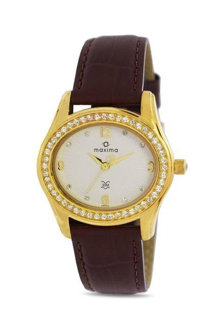 Maxima 29534LMLY Swarovski Gold Analog Watch for Women