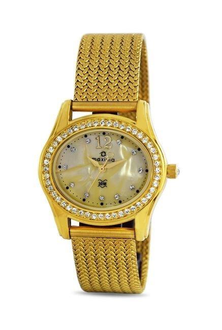 Maxima 29537CMLY Swarovski Gold Analog Watch for Women