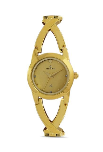 Maxima 28200BMLY Formal Gold Analog Watch for Women