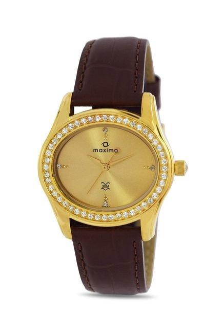 Maxima 29533LMLY Swarovski Gold Analog Watch for Women