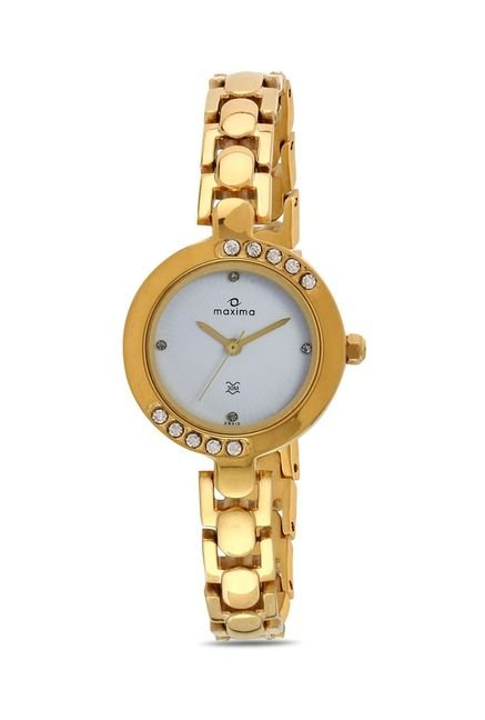Maxima 29410BMLY Swarovski Gold Analog Watch for Women