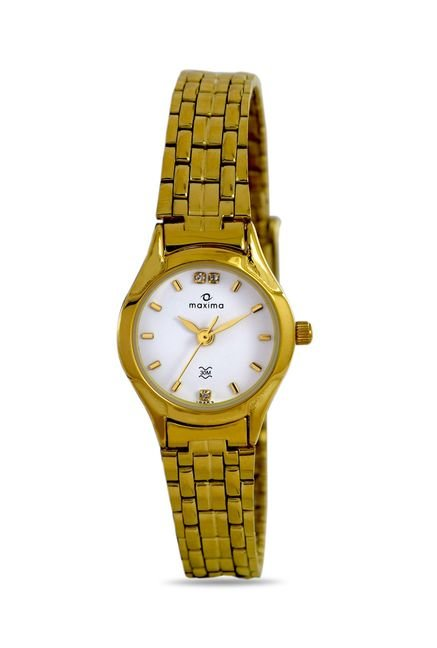 Maxima 19453CMLY Formal Gold Analog Watch for Women
