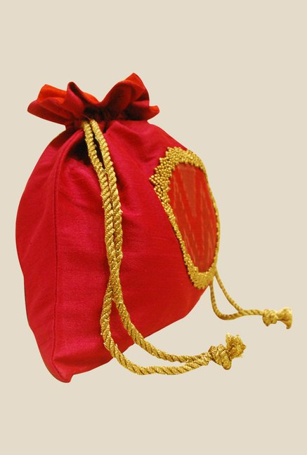 Clean Planet Indiegenius Pink & Red Textured Potli Bag