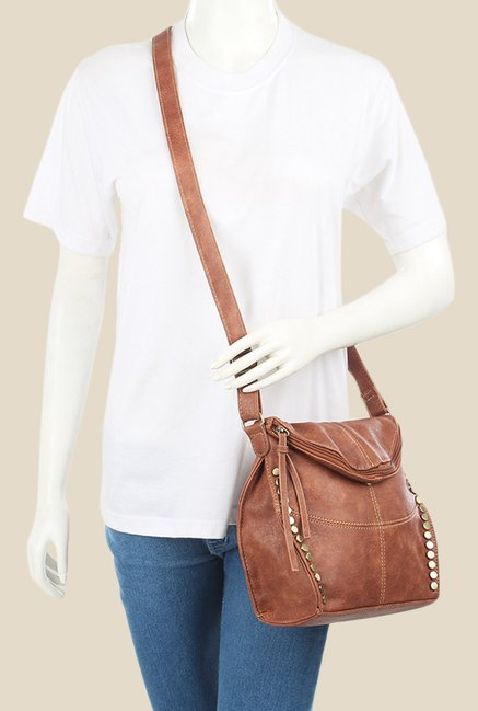 Lino Perros Tan Textured Leather Sling Bag