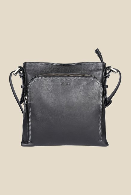 Viari El Paso Black Leather Sling Bag
