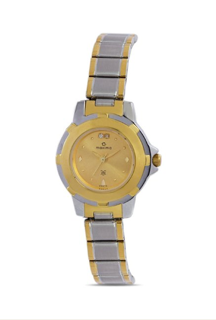 Maxima 23470CMLT Formal Gold Analog Watch for Women