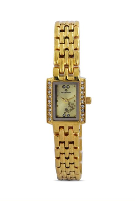 Maxima 21343BMLY Formal Gold Analog Watch for Women