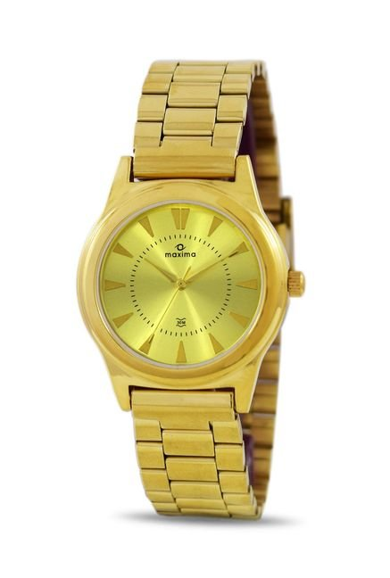 Maxima 34804CMLY Formal Gold Analog Watch for Women