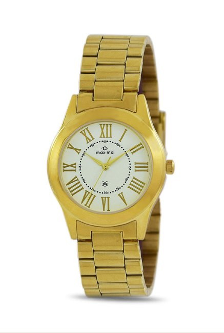 Maxima 34700CMLY Formal Gold Analog Watch for Women
