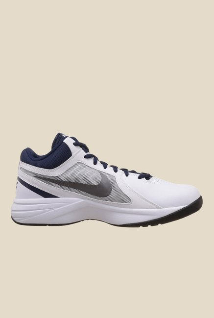 5f07423e47c Buy Nike Overplay VIII White   Navy Basketball Shoes for Men at Best ...