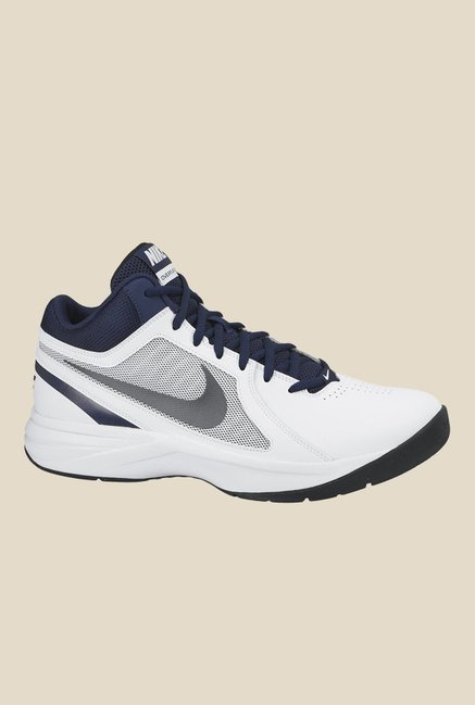 2864d51654e Buy Nike Overplay VIII White   Navy Basketball Shoes for Men at Best Price    Tata CLiQ