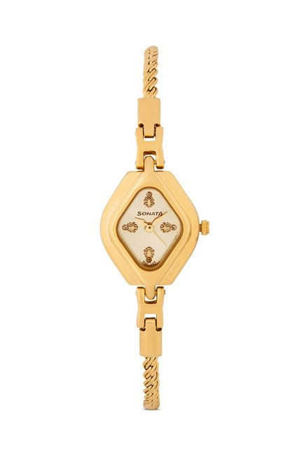 Sonata Wedding Analog Gold Dial Women's Watch, 87010YM01