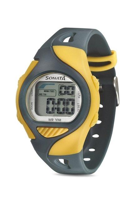 Sonata NH87011PP04 Super Fibre Digital Grey Dial Unisex Watch (NH87011PP04)
