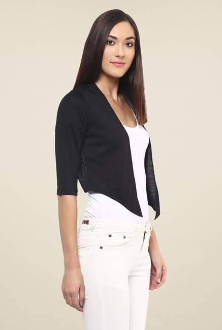 109 F Black Solid Shrug