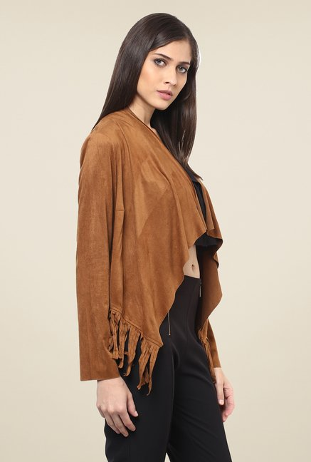 109 F Tan Solid Shrug